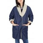 Fleece Trim Denim Cocoon Coat