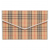 1983 Check Cotton & Leather Envelope Clutch