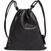 Perforated Logo Mini Faux Leather Drawstring Backpack