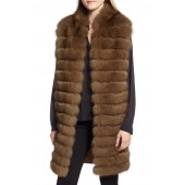 Cashmere, Wool & Genuine Fox Fur Long Vest