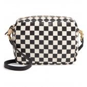Midi Sac Check Leather Shoulder Bag