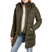 Water Resistant Puffer Coat with Vest Inset