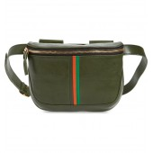 Stripe Leather Fanny Pack