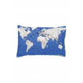Globe Trotter Quilted Cotton Pillowcase