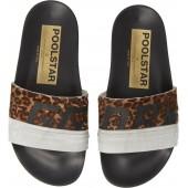 Leopard Poolstar Genuine Calf Hair Sport Slide