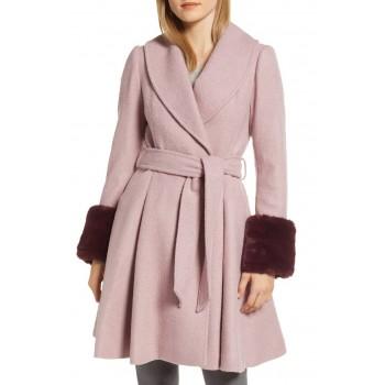 Faux Fur Cuff Skirted Coat