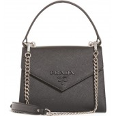Monochrome Logo Top Handle Leather Handbag