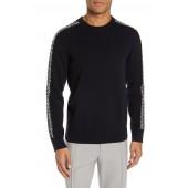Fair Isle Sleeve Crewneck Wool Sweater