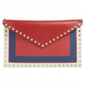 Large Rockstud Calfskin Leather Envelope Pouch