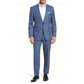 Huge/Genius Trim Fit Windowpane Wool Suit