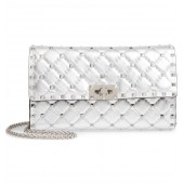 Rockstud Metallic Leather Clutch