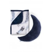 Feathery Cuddle Blanket & Moon Pillow Set