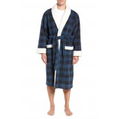 Plaid Fleece Robe with Faux Shearling Lining