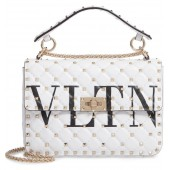 VLTN Logo Candystud Lambskin Top Handle Satchel