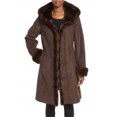 Hooded Faux Shearling Long A-Line Coat