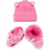 Pinkipuff Genuine Shearling Trim Hat & Booties Gift Set
