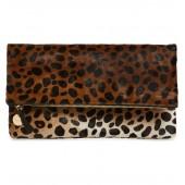 Genuine Calf Hair Leopard Print Foldover Clutch