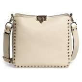 Small Rockstud Leather Hobo