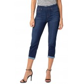 Chloe Roll Cuff Capri Denim Leggings
