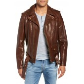 '50s Oil Tanned Cowhide Leather Moto Jacket