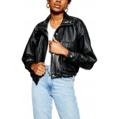 Funnel Neck Leather Moto Jacket