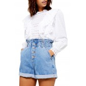 Ruffle Long Sleeve Broderie Anglaise Top
