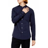 Slim Fit Band Collar Oxford Button-Up Shirt