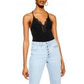Lace Trim Strappy Rib Bodysuit