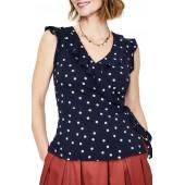 Jodie Polka Dot Sleeveless Cotton Blend Wrap Top