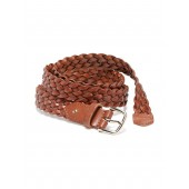 Braided Bonded-Leather Belt for Women