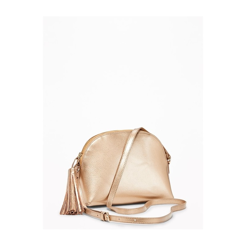 Faux-Leather Half-Moon Bag for Women