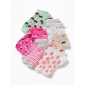 Printed Ankle Socks 6-Pack for Girls