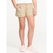 Cuffed Pull-On Poplin Shorts for Girls