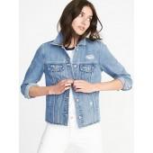 Distressed Raw-Edged Denim Jacket for Women