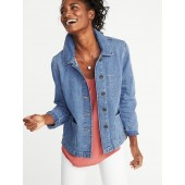Button-Front Denim Chore Jacket for Women