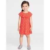 Ruffled Polka-Dot Jersey Dress for Toddler Girls