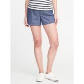 Maternity Side-Panel Linen-Blend Shorts (5