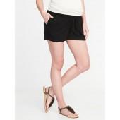 Maternity Roll-Over Linen-Blend Shorts
