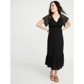 Maternity Crochet-Sleeve Cinched-Waist Dress