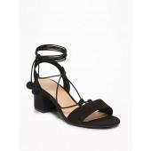 Sueded Low Block-Heel Sandals for Women