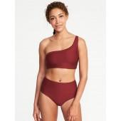 Textured-Stripe One-Shoulder Swim Top for Women