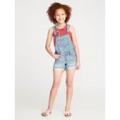 Lace-Hem Denim Shortalls for Girls