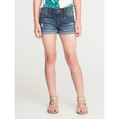 Embroidered-Patch Distressed Denim Shorts for Girls