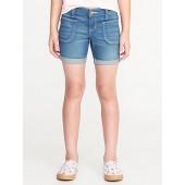 Utility Pocket Denim Midi Shorts for Girls