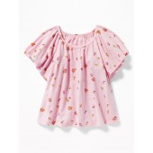 Ruffle-Sleeve A-Line Top for Girls