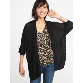 Textured-Knit Dolman-Sleeve Open-Front Sweater for Women