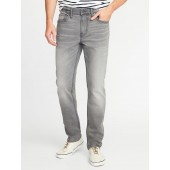 Straight Built-In Flex Distressed Gray Jeans for Men