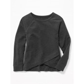 Relaxed French-Terry Cross-Front Sweatshirt for Girls