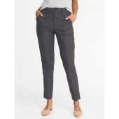 Mid-Rise Raw-Edge Utility Chinos for Women