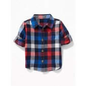 Plaid Pocket Roll-Sleeve Shirt for Baby